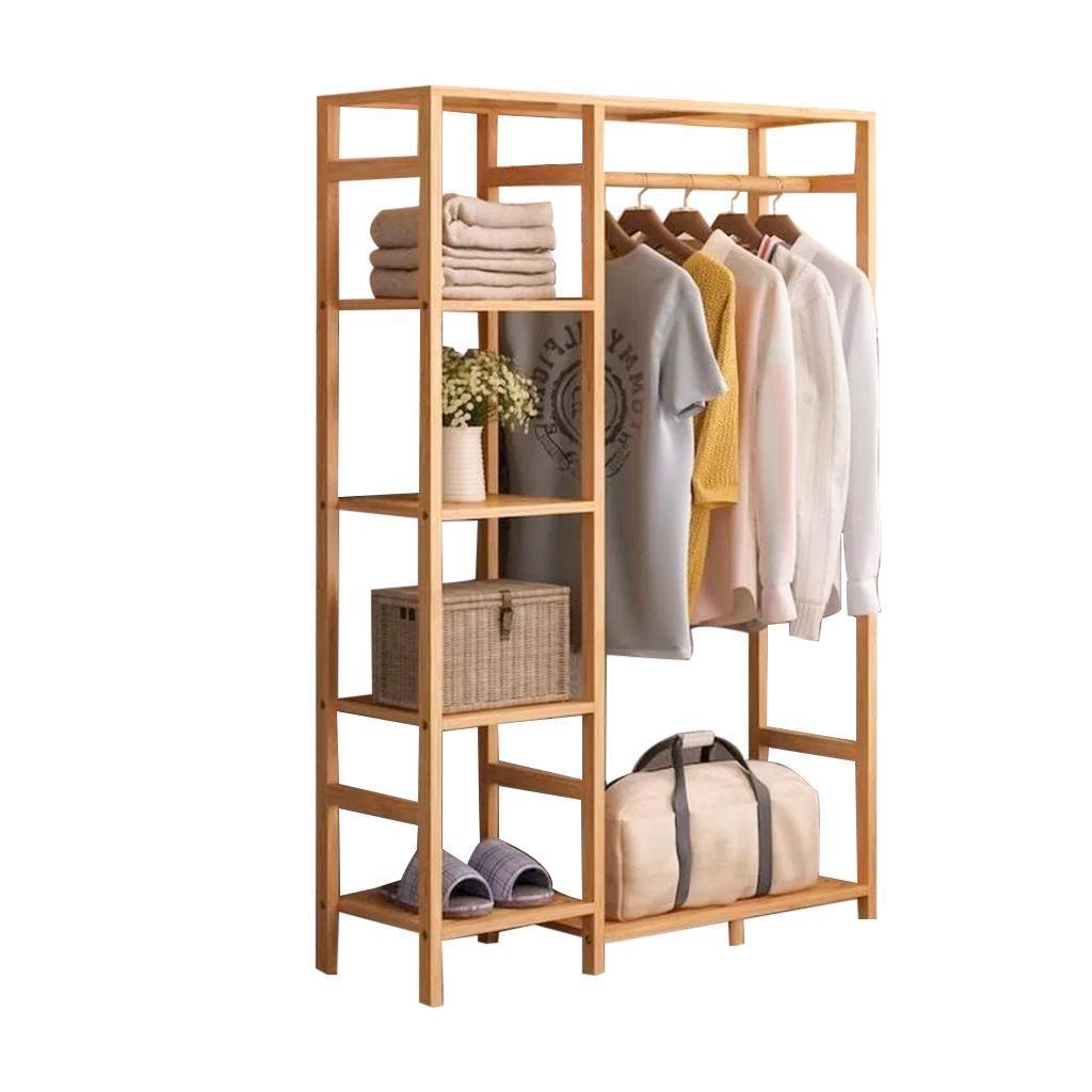 kệ gỗ treo quần áo shop, kết hợp thanh treo và kệ để đồ, thiết kế theo phong cách Hàn Quốc, hiện đại, bền đẹp