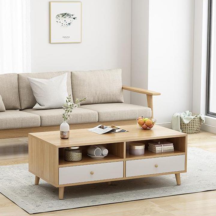 Bàn trà mặt gỗ 2 ngăn kéo H97 (kt 120x60cm) - Bàn trà đẹp cho căn hộ