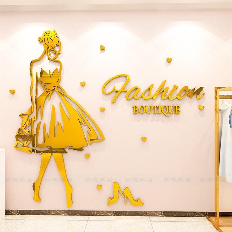 Tranh mica dán tường trang trí shop thời trang, tiệm nail, mi, salon tóc