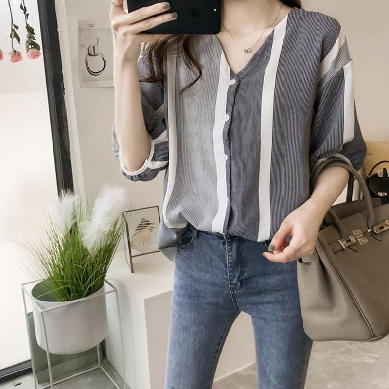 Women Summer Striped Patchwork Blouse Loose Bat Sleeves Shirt - Black Size XXL