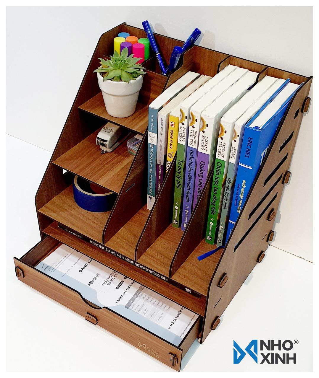 Kệ hồ sơ để bàn lắp ráp, Nhãn hiệu Nho Xinh, xuất xứ Việt Nam, sắp xếp bàn làm việc gọn gàng, thích hợp làm quà tặng ý nghĩa cho bạn bè, người thân - Kệ hồ sơ số 3 - OS_SHP_03