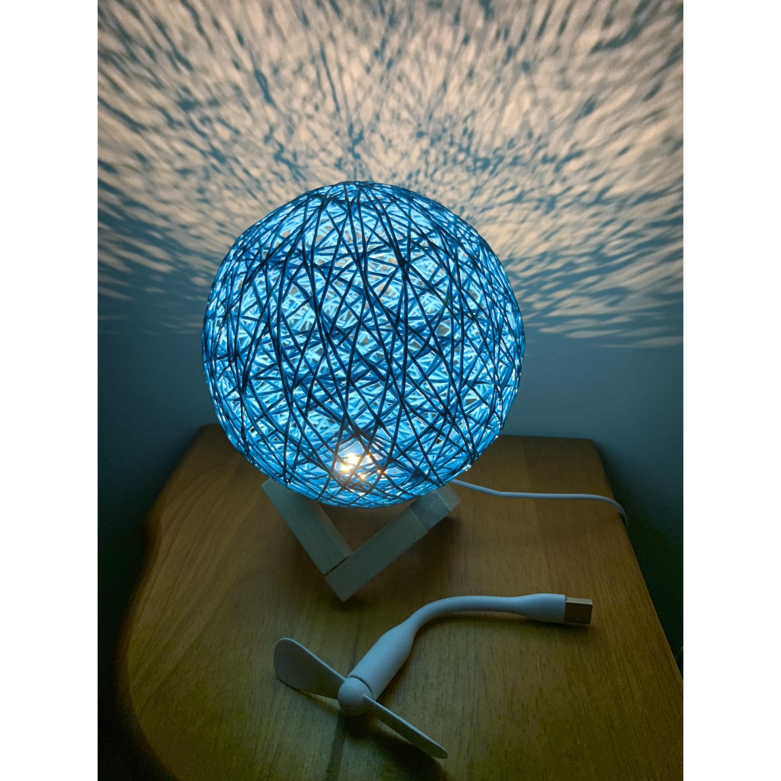 Đèn ngủ, đèn để bàn quả cầu mây độc lạ- Tặng kèm quạt USB ( quạt màu ngẫu nhiên)