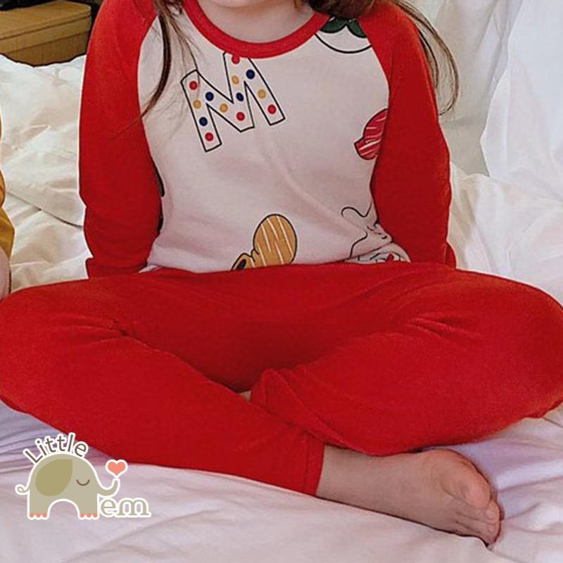 Bộ đồ bé trai/ bé gái Cotton xuất Nhật dài tay _ Red M