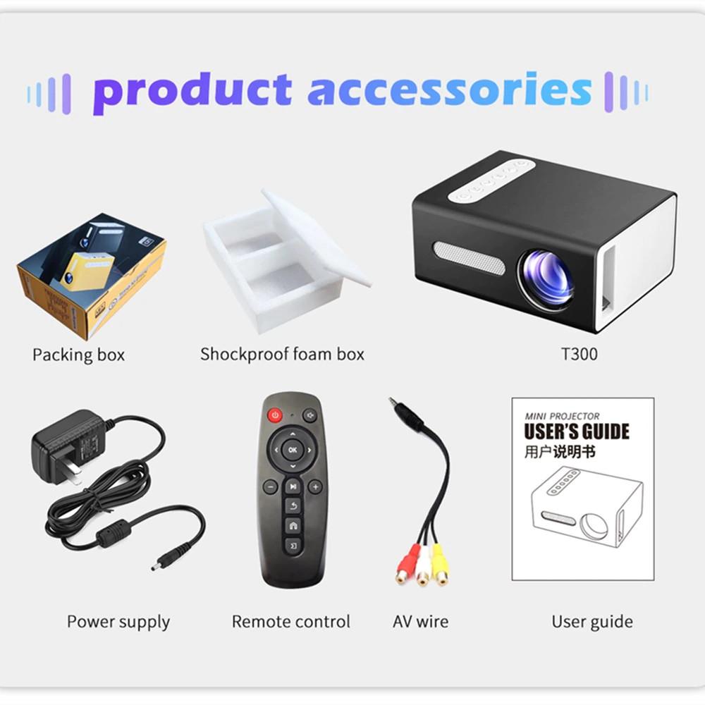 Máy Chiếu Di Động Mini Led Projector T300 Độ Phân Giải Khả Dụng 320x240  Độ Sáng 800 Lumens Tích Hợp Các Cổng HDMI, USB, 3.5mm Audio, TF Card Slot