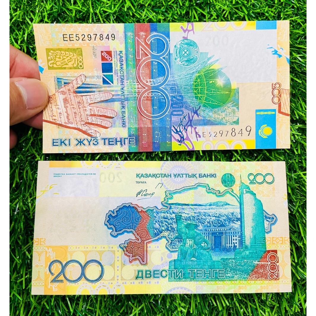 Tiền Kazakhstan 200 Som, tiền Trung Á, mới 100% UNC, tặng túi nilon bảo quản