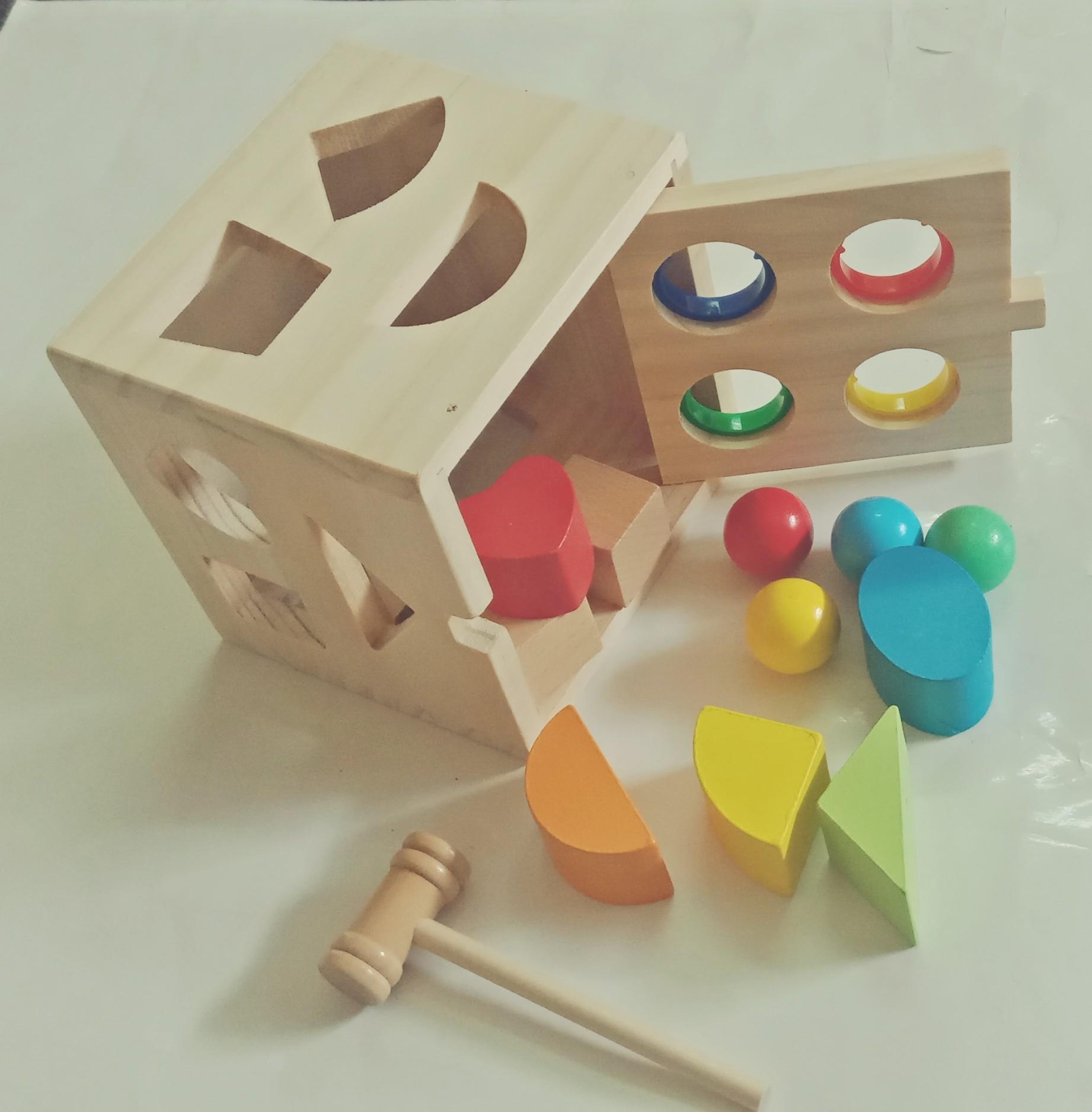 Đồ chơi hộp gỗ thông minh thả khối hình học kết hợp đập bóng