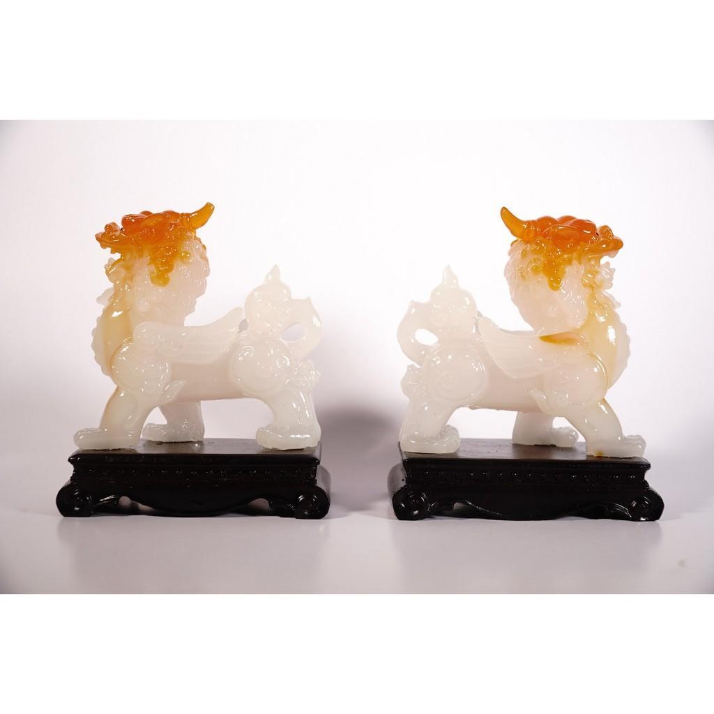 Cặp tượng Tỳ Hưu trắng phong thủy chiêu tài nạp lộc - Cao 15cm