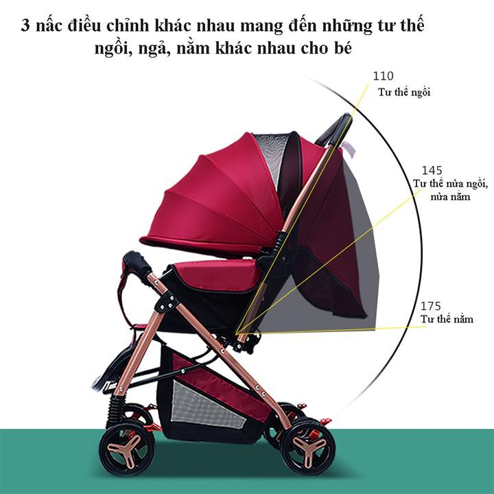 Xe đẩy em bé gấp gọn 2 chiều 3 tư thế, xe đẩy em bé khung thép chắc chắn, có mái che tiện lợi