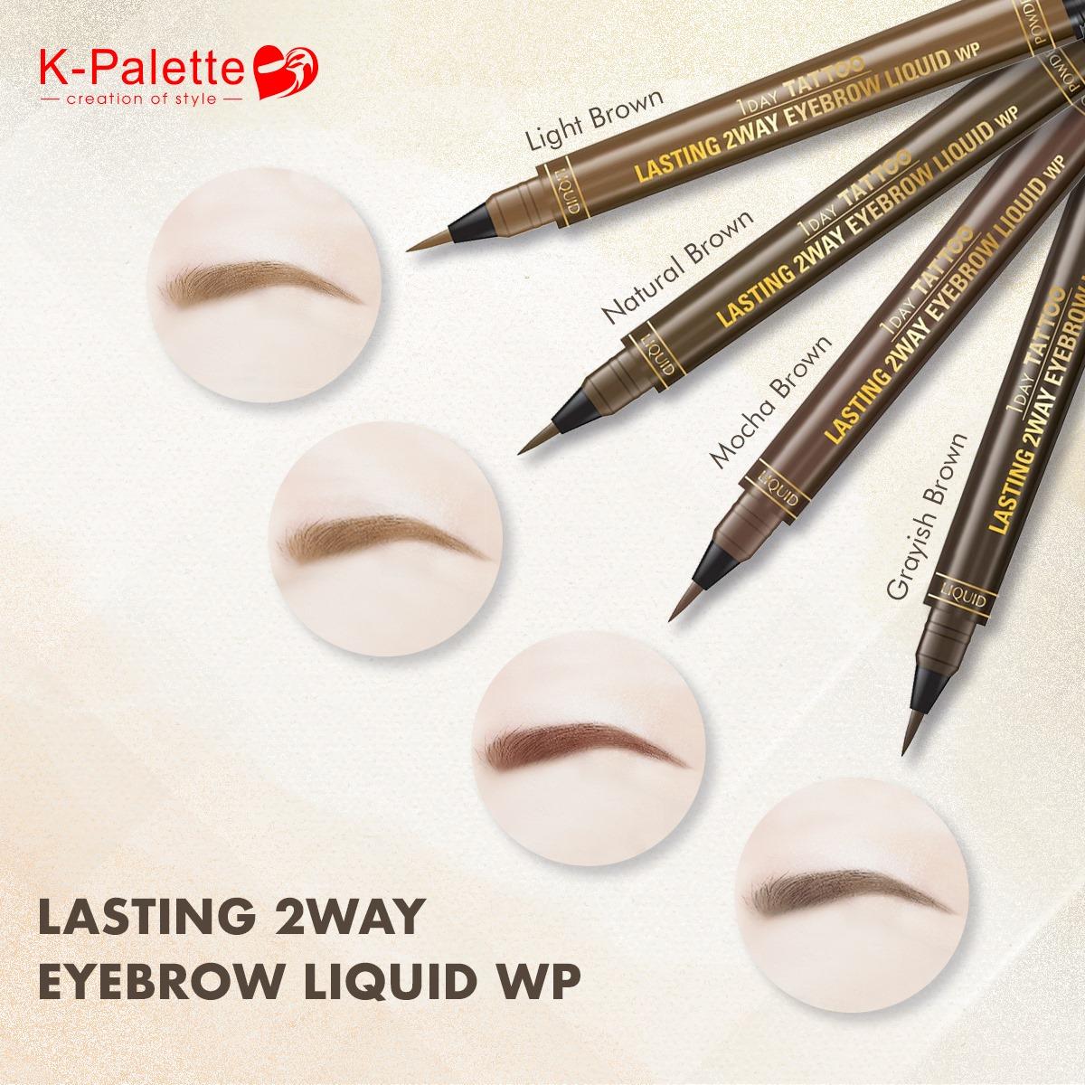 Bút Vẽ Lông Mày 2 Đầu K-Palette Eyebrow Pencil Chống Nước Lâu Trôi 24h (4 Màu)