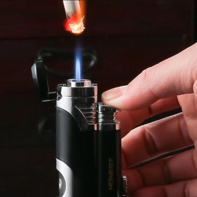 Bật lửa khò Honest BCZ-359 có đục lỗ Ciga,  2 tia mạnh mẽ (màu ngẫu nhiên)