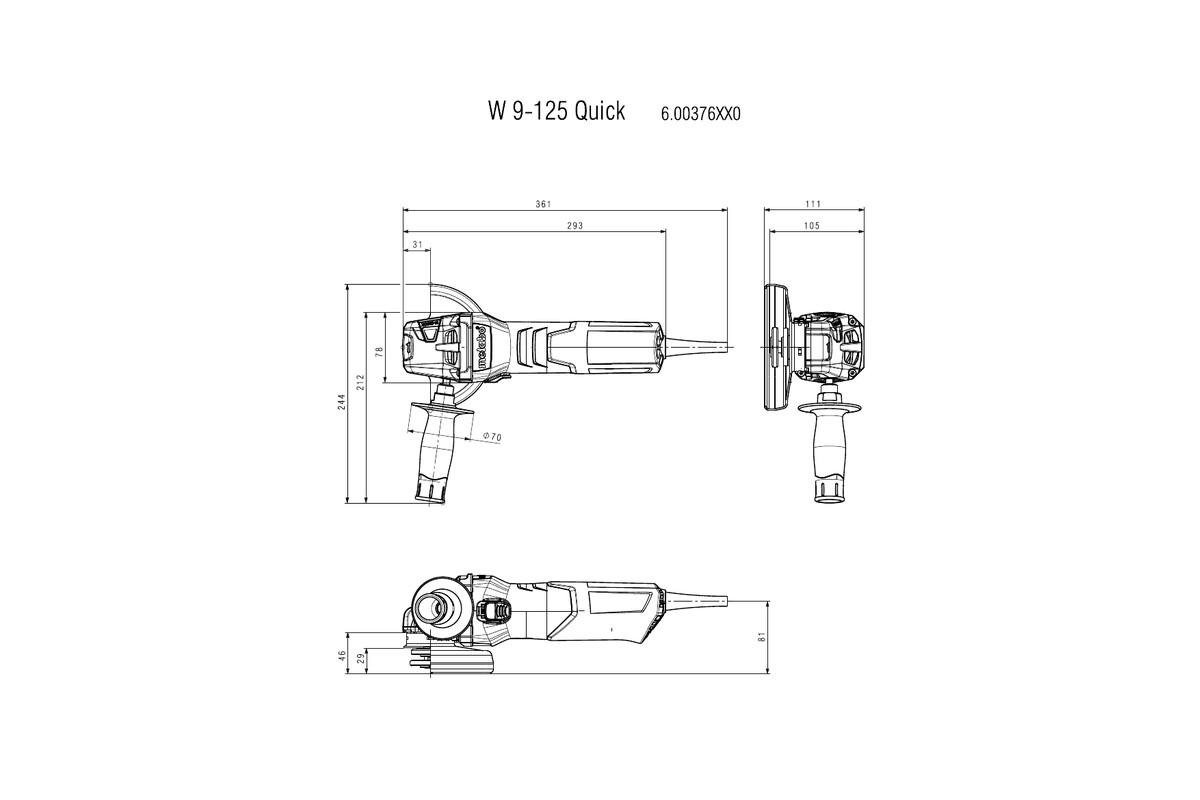 Máy mài góc Metabo W 9-125 (220-240 V / 50 - 60 HZ)
