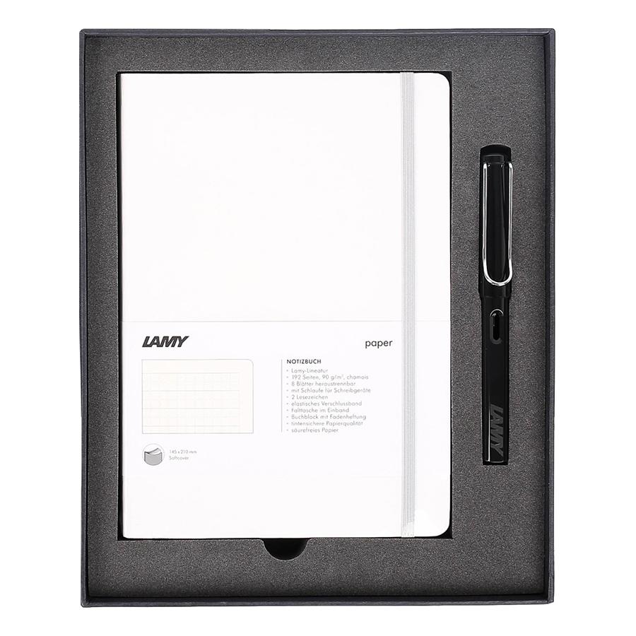 Lamy Notebook A5 Softcover White + Lamy Safari Shiny Black - GSNSa0027