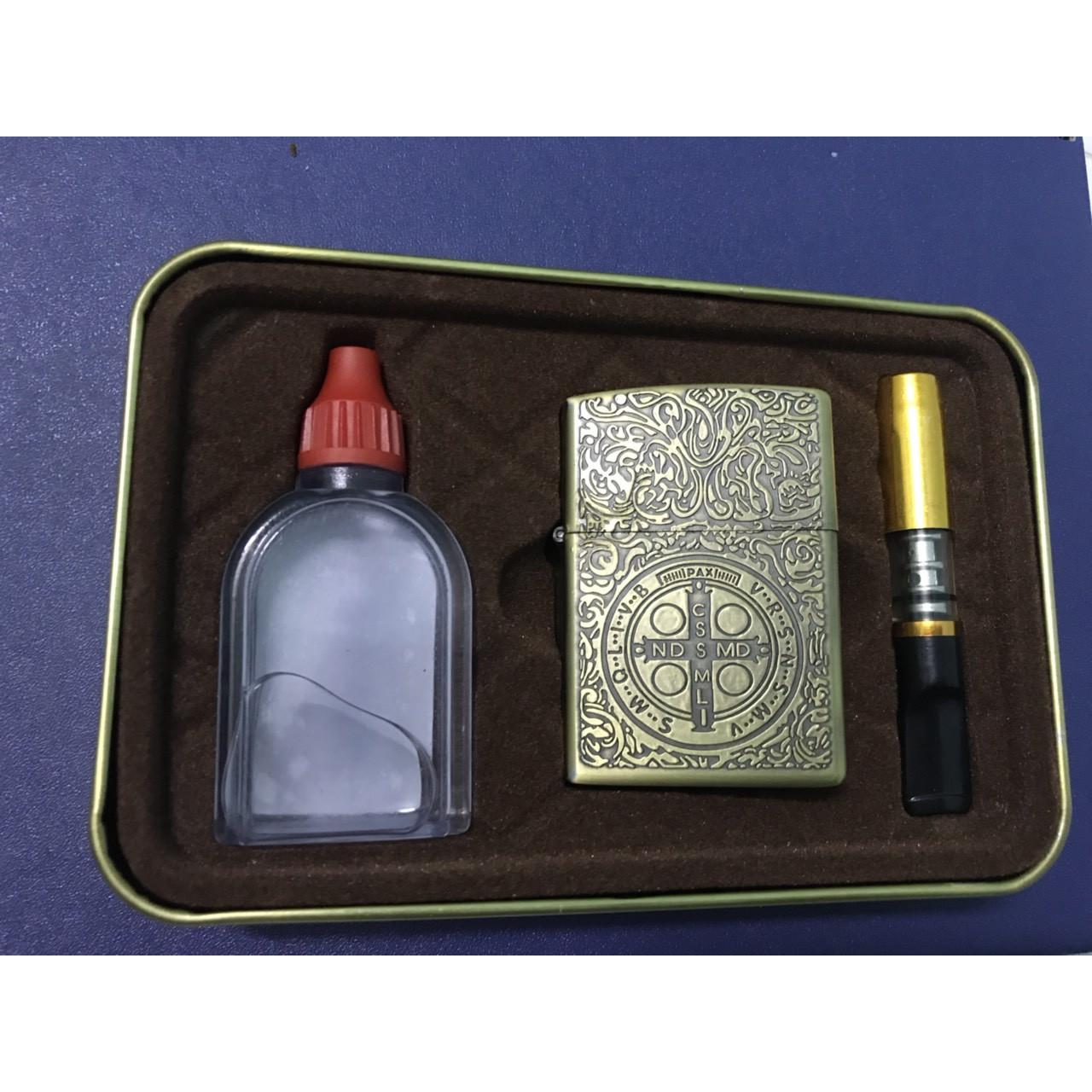 Combo Bật Lửa Mạ Đồng Khắc Chữ Thập + Tẩu hút thuốc + Chai xăng - Z21