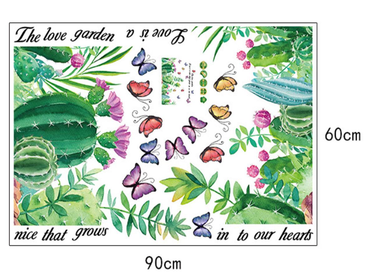 decal dán tường xương rồng hoa bướm sk9326