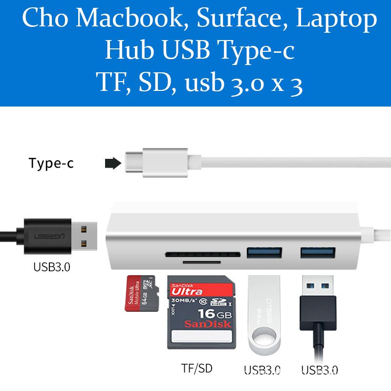 Hub usb type-c ra 5 cổng Usb 3.0, TF, Sd chuyên dụng cho Mac, Surface, Dell XPS, HP