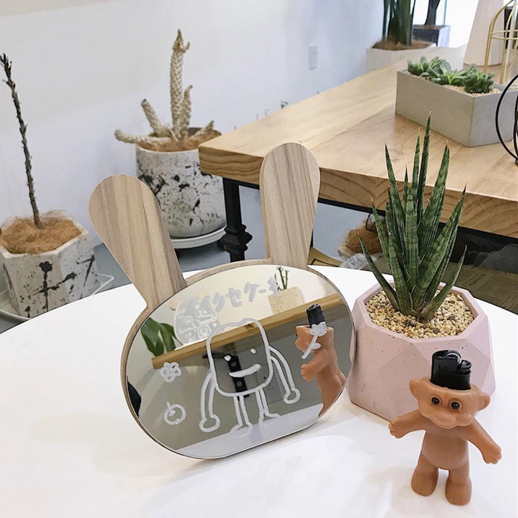 Gương gỗ để bàn trang điểm Hàn quốc tai thỏ, gấu đi kèm bút dạ trắng