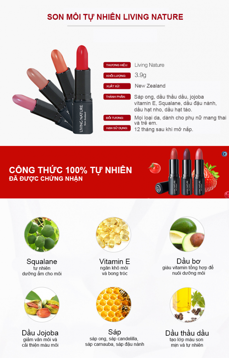Son dưỡng Living Nature Tinted Lip Hydrator Bliss 13 3