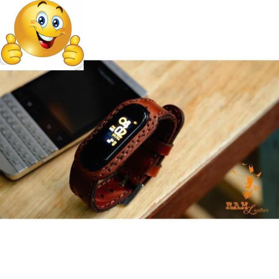 DÂY DÀNH CHO MIBAND 4 / MIBAND 3 DA BÒ NÂU ĐỎ - RAM Leather hàng chính hãng