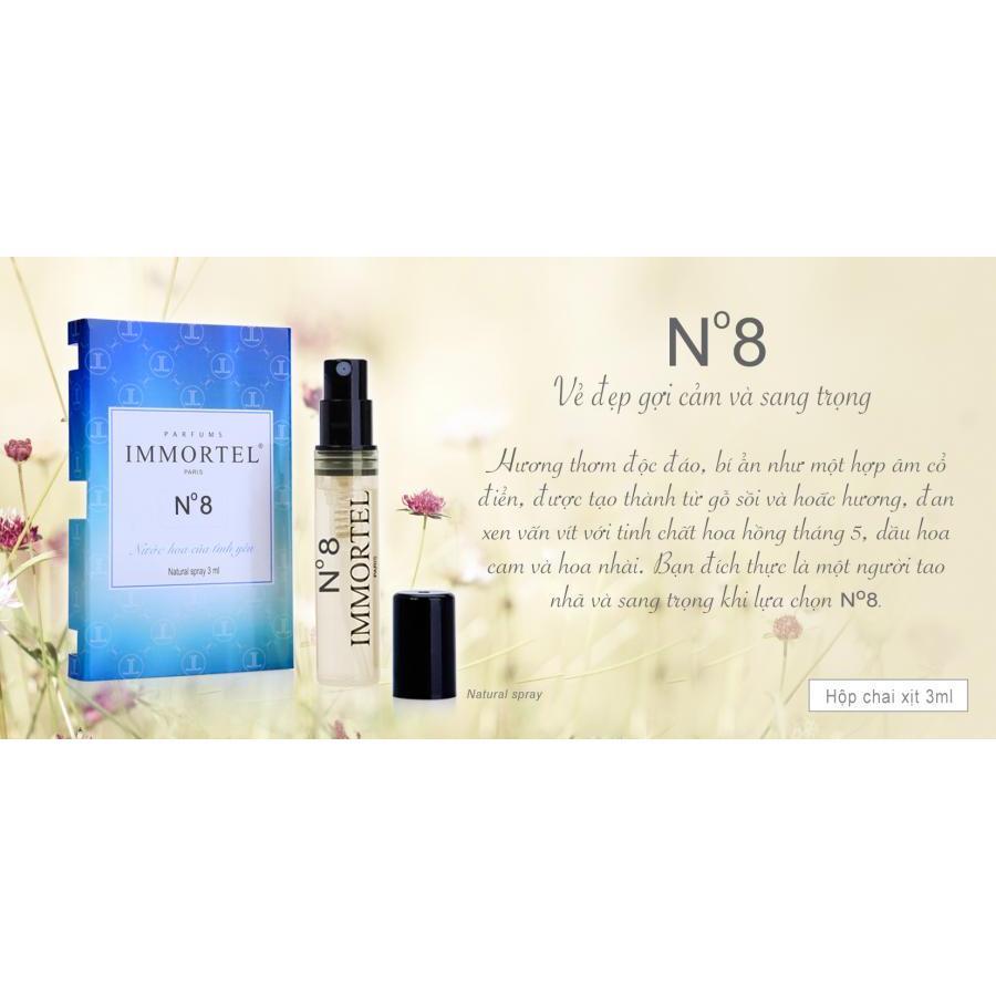Nước Hoa IMMORTE; PARIS - Hộp Set5 _ 3 chai xịt 3ml : ( No777 + No8 + 206 ) Eau De Parfum