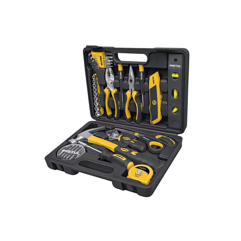 Bộ dụng cụ sửa chữa đa năng,Bộ đồ nghề đa năng,dụng cụ sửa xe,Kìm,Mỏ lết,Cờ lê,Bộ set đồ nghề 42 chi tiết Pretul set-42