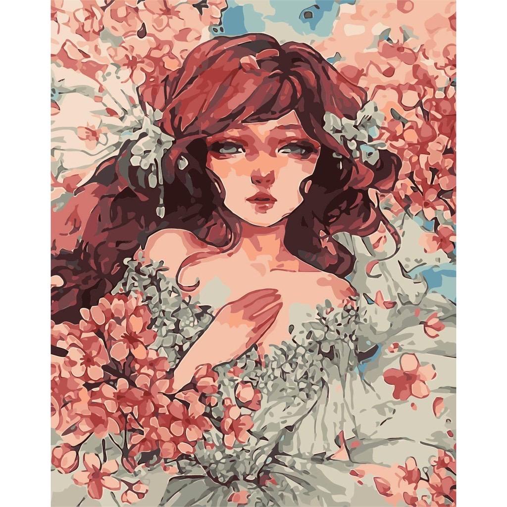 Tranh số hoá tự tô đã căng khung 40*50 nàng thơ hoa NT4