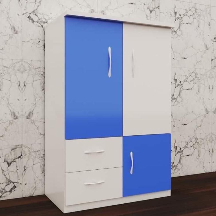 Tủ nhựa đài loan 2 cánh 2 ngăn kéo 1 cánh mở - xanh trắng (cao 1m15 x rộng 85cm x sâu 45cm)