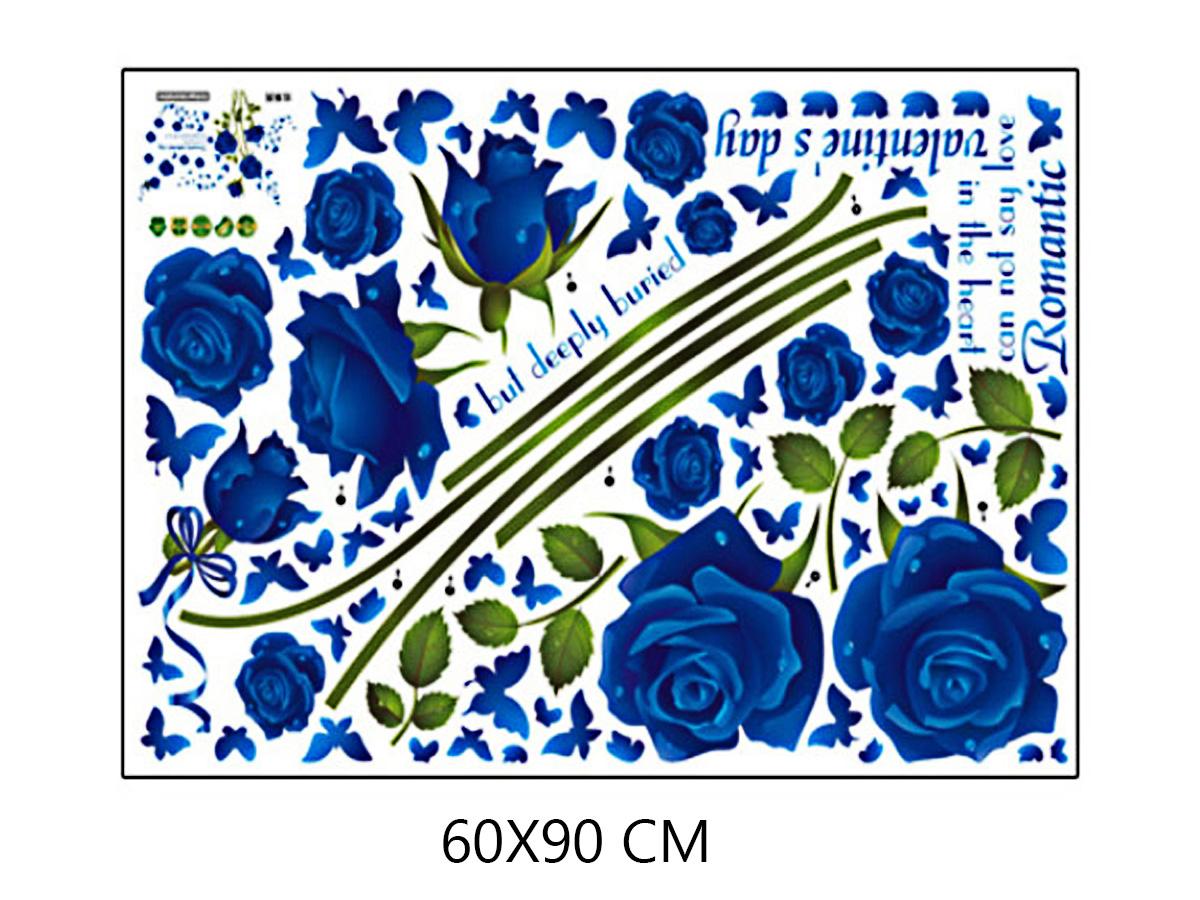 decal dán tường hoa hồng xanh sk9195b