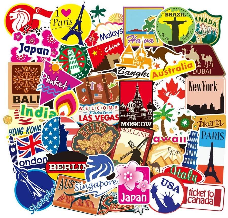 Set 60 Sticker chủ đề Du lịch, Travel ảnh ép lụa