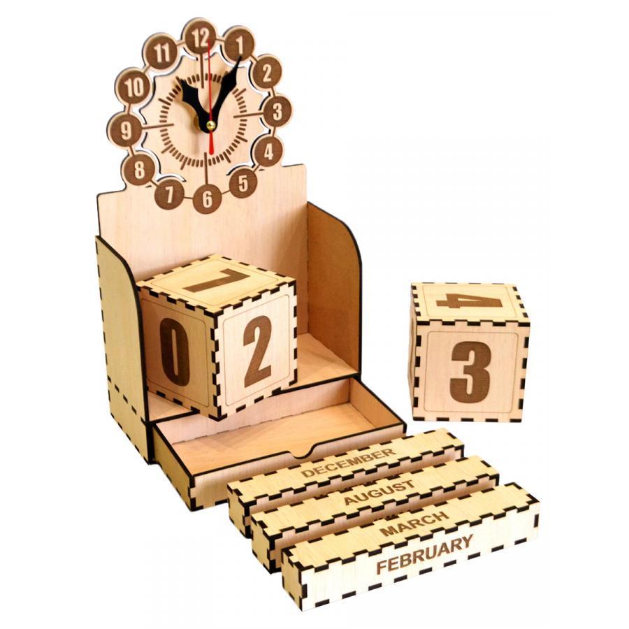 Đồng hồ gỗ lắp ráp - lịch vạn niên Jonnydecor D03