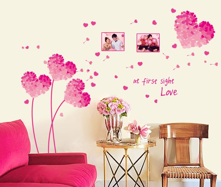 Decal Dán Tường Pink Heart AY9273