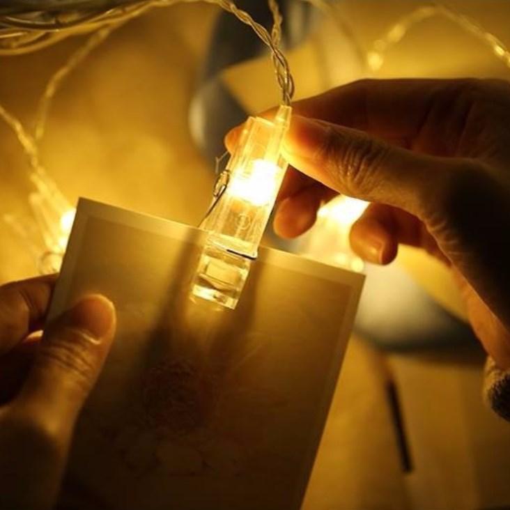 Dây đèn led kẹp ảnh 3m dùng pin màu vàng ấm