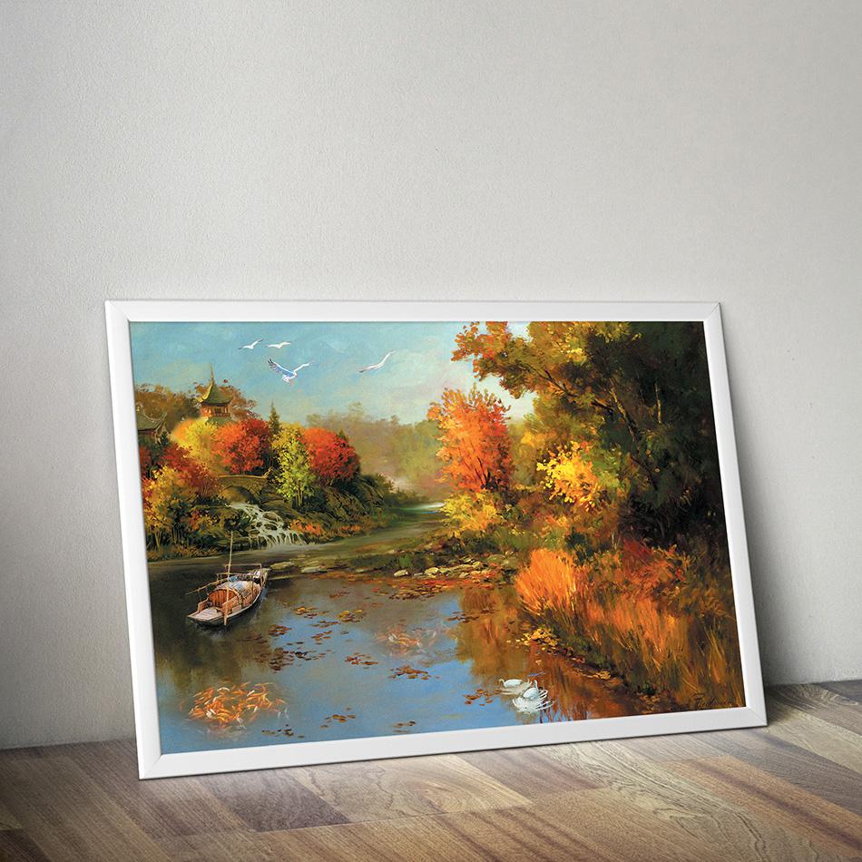 Tranh canvas trang trí tường phong cảnh Châu Âu cổ điển phong cách sơn dầu - PC003