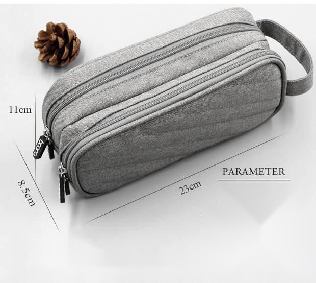 Túi đựng cáp sạc phụ kiện công nghệ 2 ngăn dáng dọc Baona - Hàng nhập khẩu