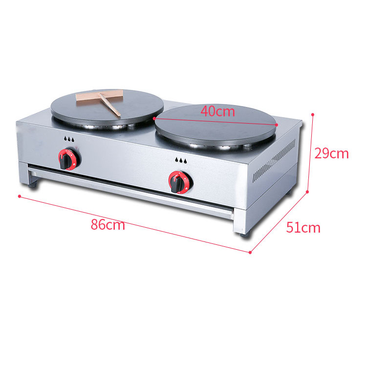 Máy làm bánh crepe loại 2 bếp dùng ga