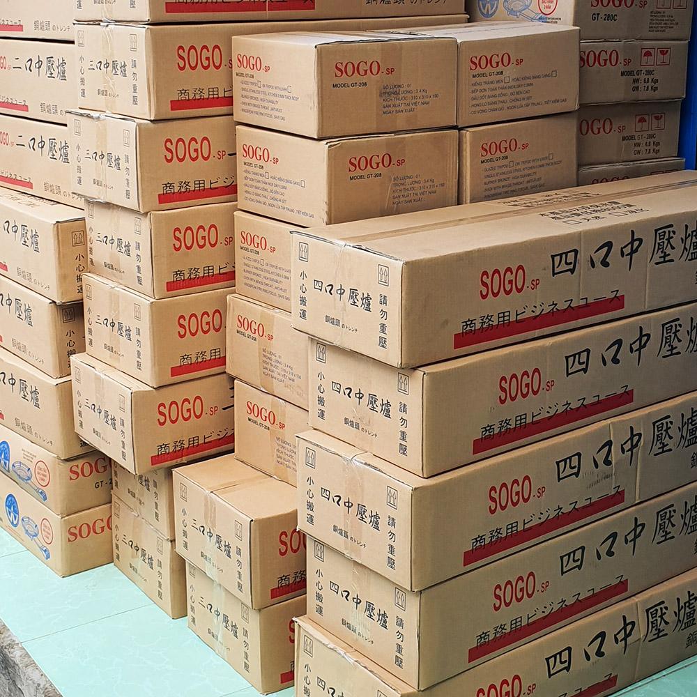 Bếp ga Hải Sản công nghiệp 3 lò nấu Sogo đầu đốt đồng, khung inox, hoa văn màu ngẫu nhiên - Hàng chính hãng