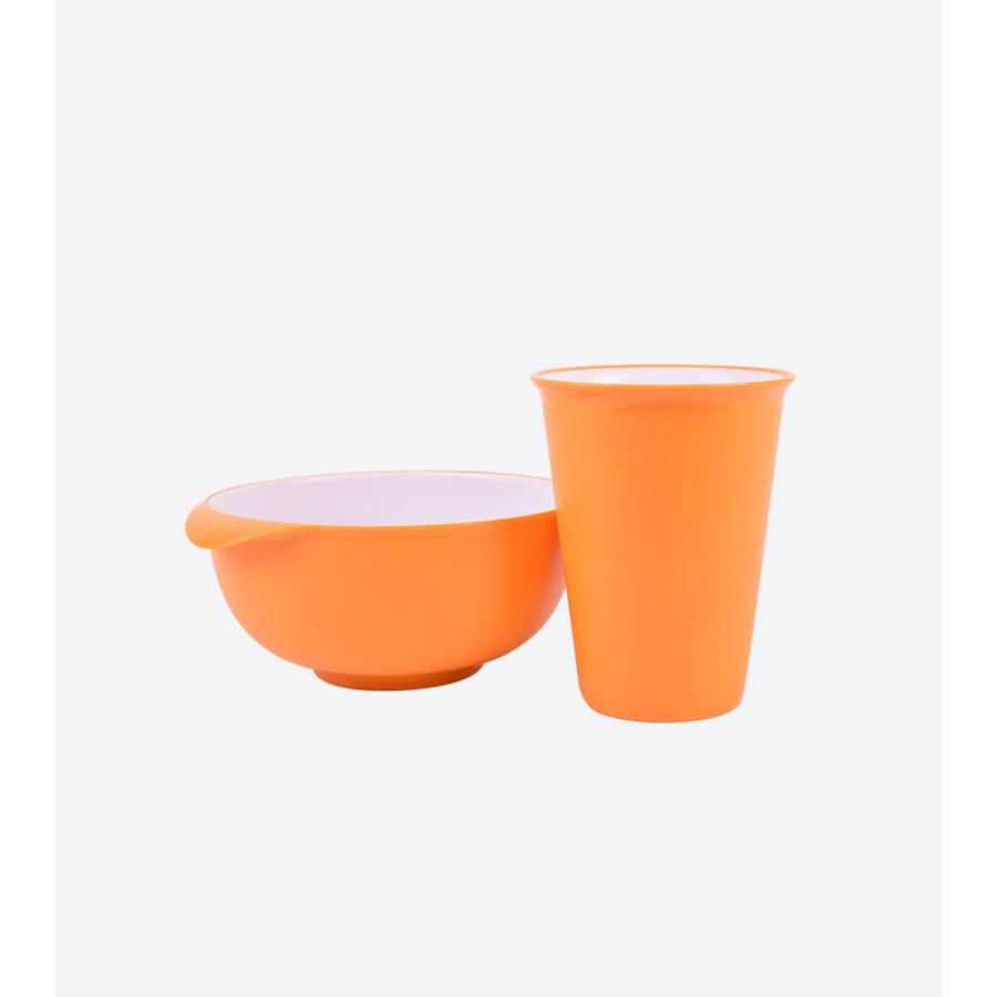 Combo 1 Tô & 1 Ly nhựa trẻ em Hàn Quốc - Màu Cam