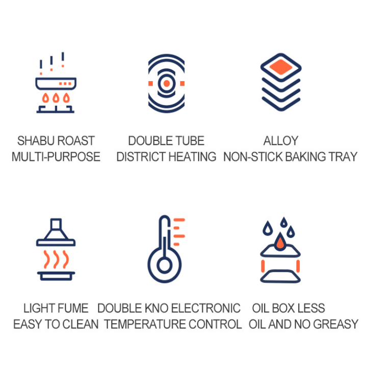Bếp lẩu nướng đa năng 2 trong 1 - Công suất 2200W - Nhôm đúc nguyên khối