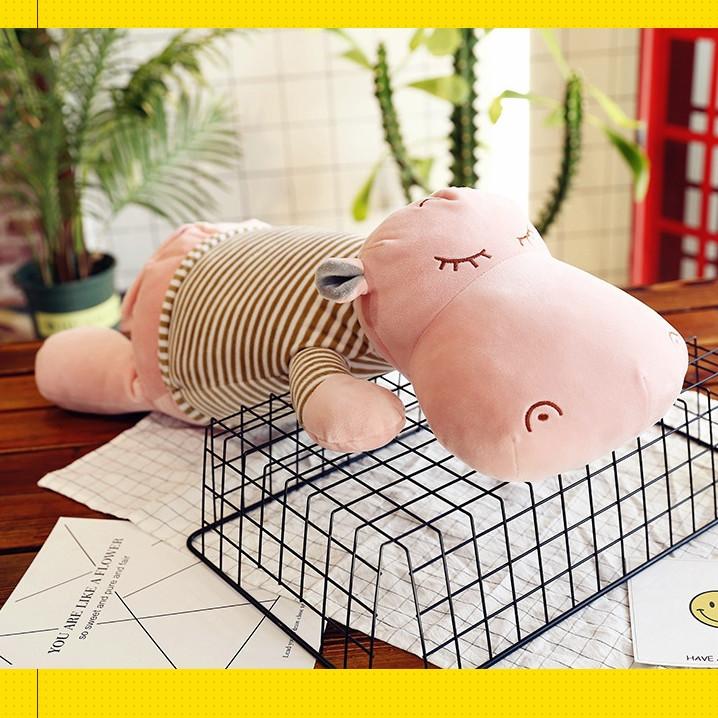 Gối mền Hà Mã Ngủ Lười,chức năng 3 trong 1, chăn gối gấu bông kèm mền ngủ trưa văn phòng,
