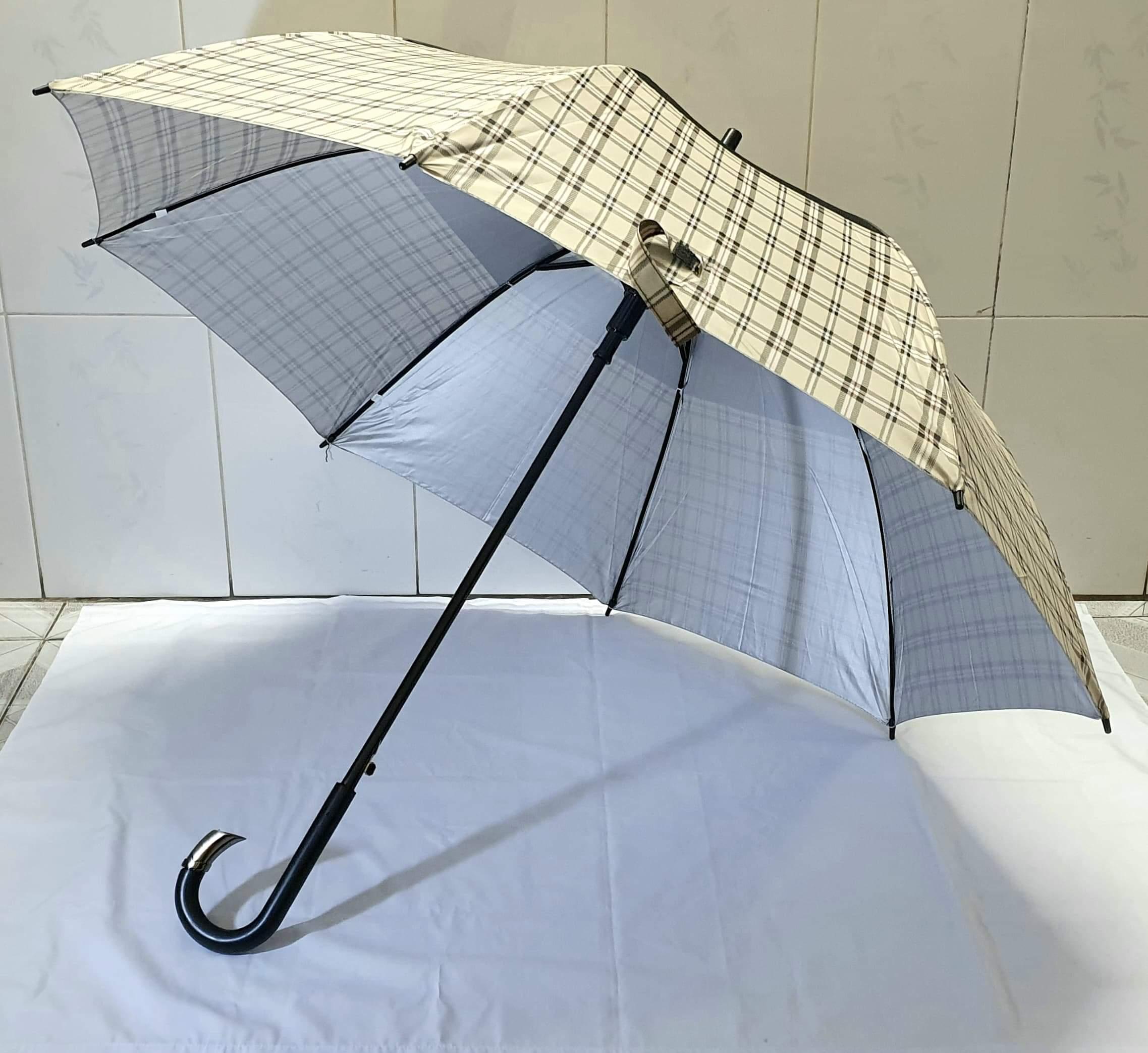 Dù che mưa nắng caro cán cong lớn (đường kính 116cm ,dài 100cm- màu ngẫu nhiên )