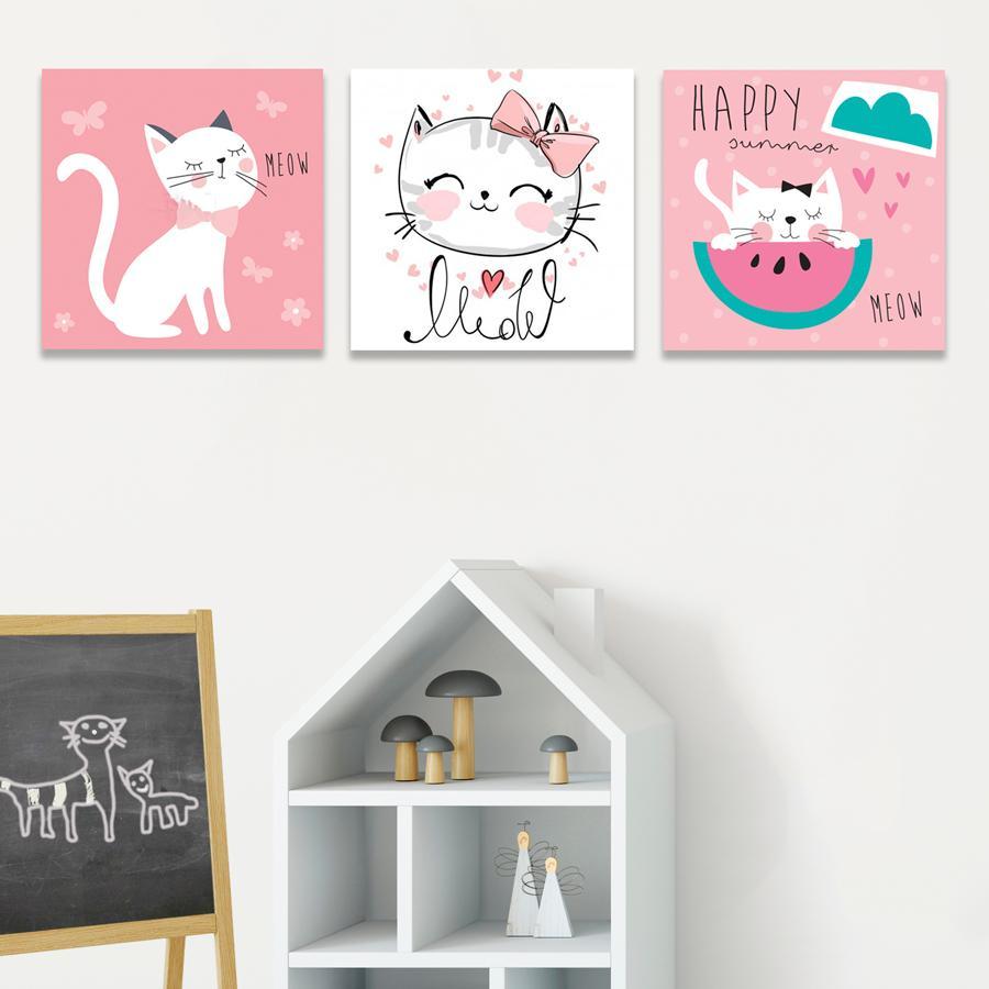 Tranh Vải Canvas - Set 3 Tranh Treo Tường Hình Mèo Con Đeo Nơ PMK3038