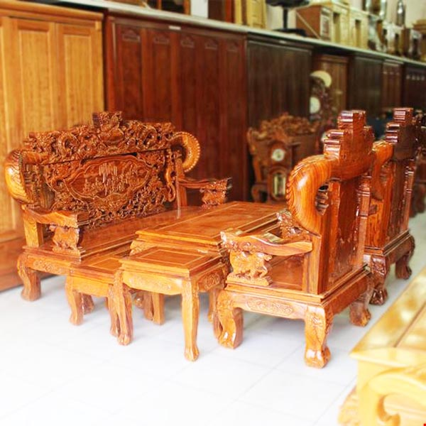 Bộ rồng bát tiên gỗ hương tay 12 bộ 6 món
