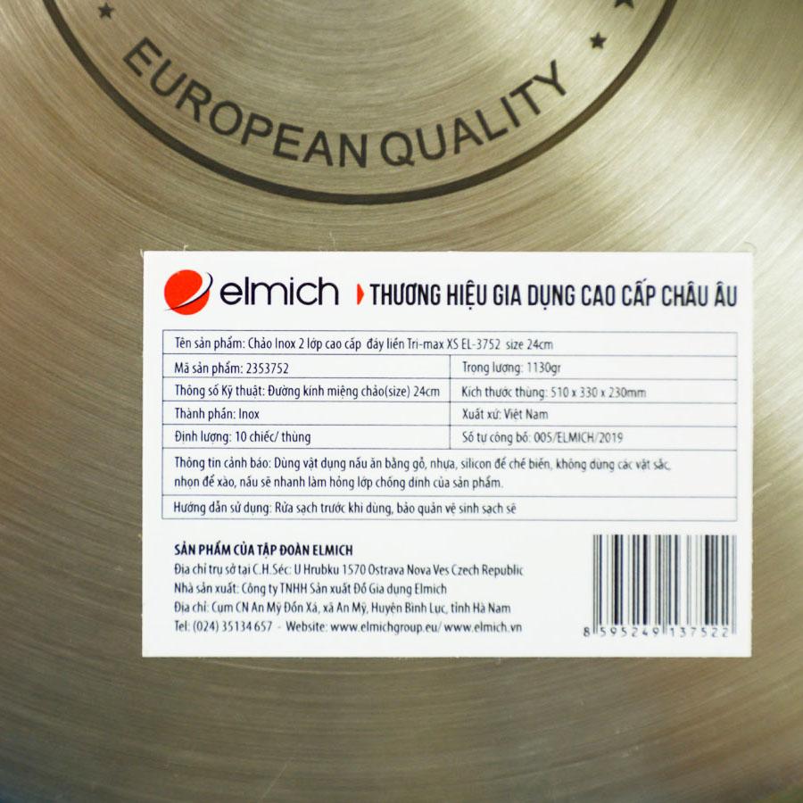 Chảo chống dính cao cấp Inox 304 liền khối Elmich Tri-Max XS EL-3752 đường kính 24cm - Hàng chính hãng