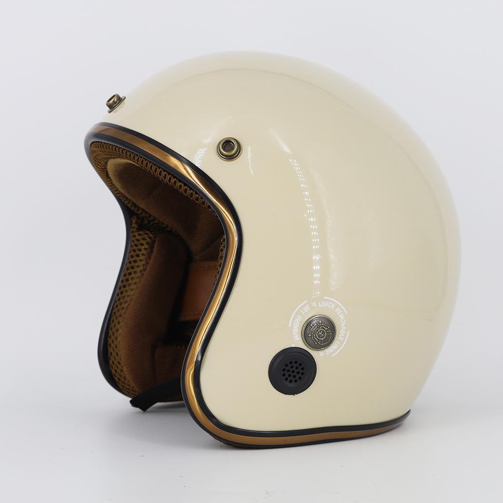 Mũ bảo hiểm 3/4 SRT Lót màu cao cấp - Kem bóng lót nâu- có thông gió - viền đồng cao cấp