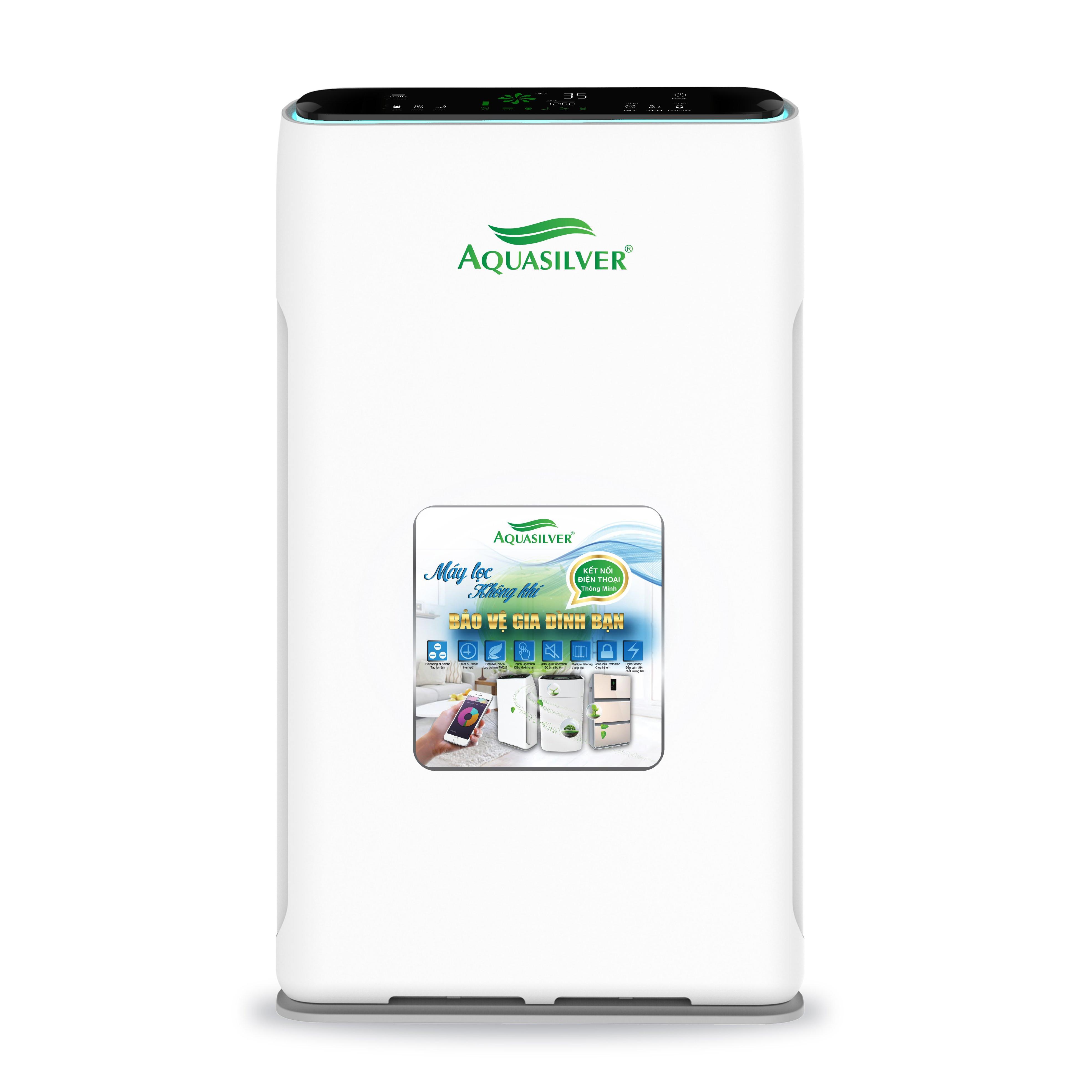 Máy lọc không khí Aquasilver hàng nhập khẩu, khử mùi, UV diệt khuẩn, tạo ion âm, kết nối điện thoại thông minh