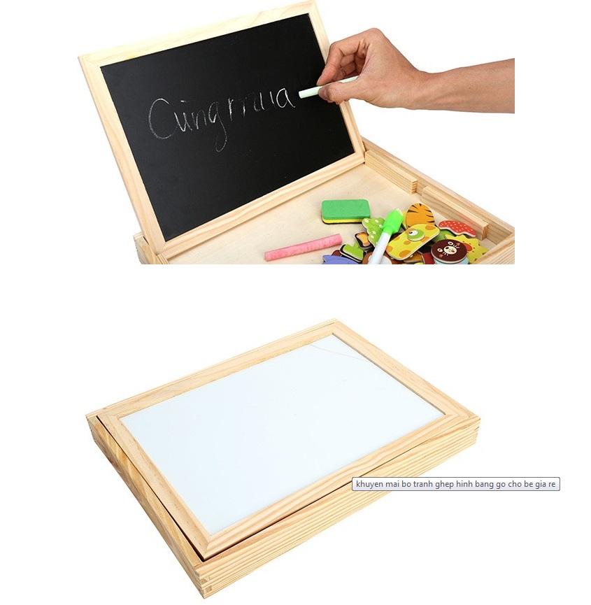 Bộ tranh ghép hình bằng gỗ nam châm 2 mặt bảng đen viết phấn vẽ tranh hấp dẫn cho các bé (Giao ngẫu nhiên)
