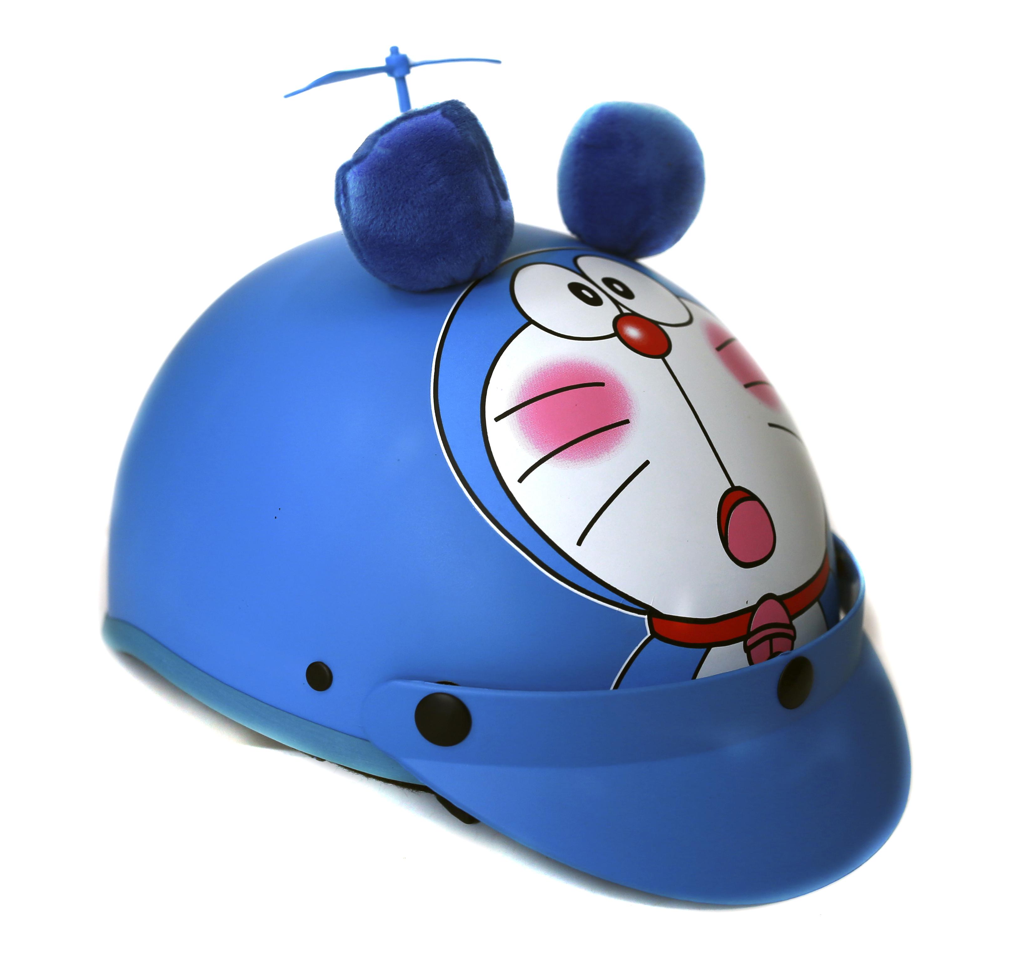Mũ bảo hiểm doraemon đáng yêu 3D kèm chong chóng