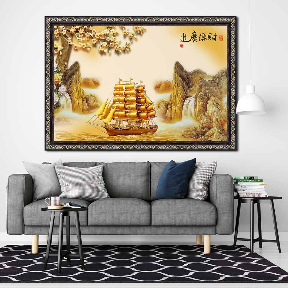 Tranh canvas phong thủy treo tường - Thuận buồm xuôi gió - TBXG005 - Khung hoa văn sang trọng - 120x80cm