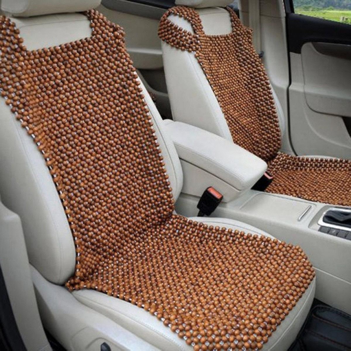 Đệm khoác ghế lái ô tô hạt gỗ hương loại 1,2cm .