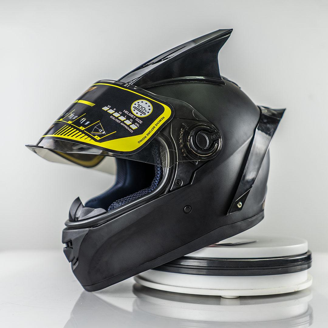 [COMBO] Mũ Bảo Hiểm Fullface AGU Đen Trơn – Sừng – Đuôi Gió