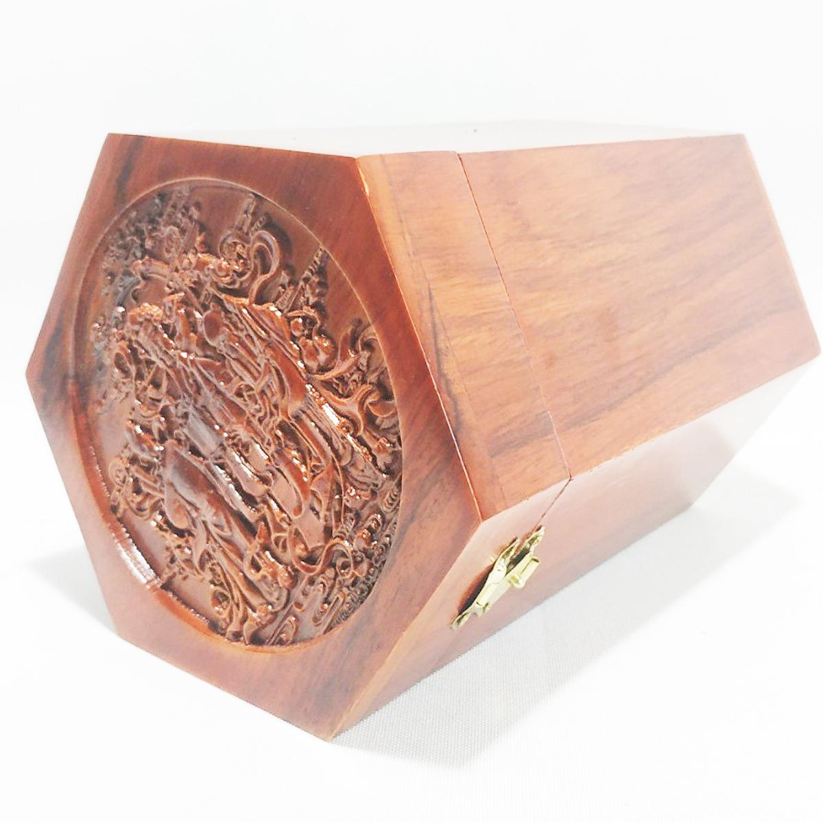 Hộp đựng chè LỤC GIÁC TAM ĐA gỗ hương RAW